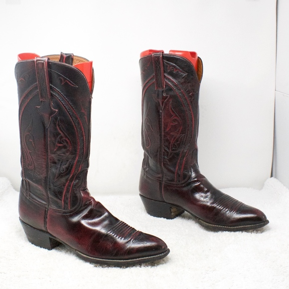 9becfd2c554 Lucchese Texas Red Leather Western Boots Size 11.5